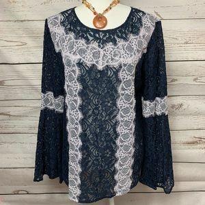 NWOT Ann Taylor Loft Navy Lace Bell Sleeve Top